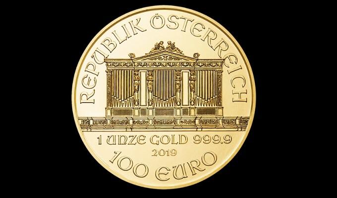 Златна монета австрийска филхармония 1 унция