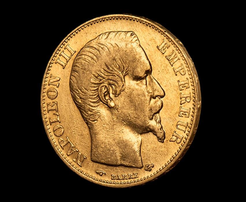 Историческа монета от 20 франка златен Наполеон - лице