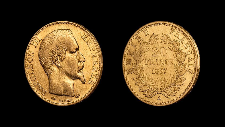 Наполеон III - историческа златна монета от 20 франка