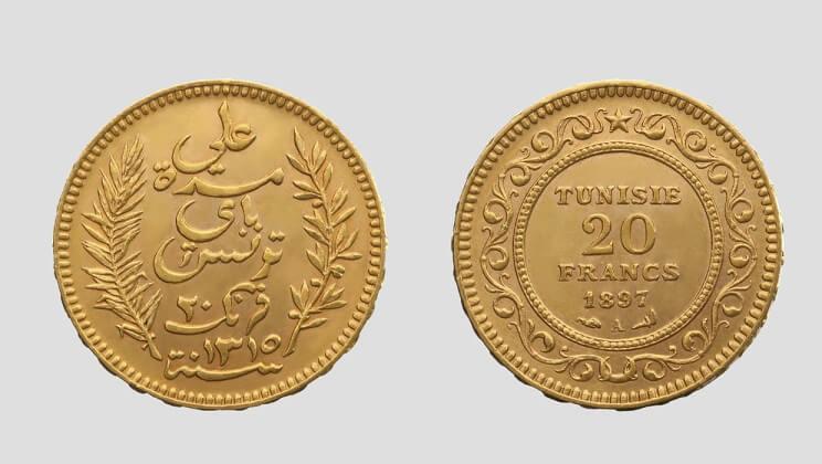 20 златни тунизийски франка