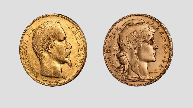 Златен Наполеон и Мариана - монети от 20 франка