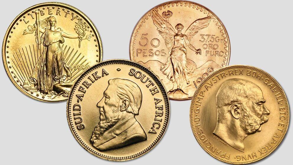 Златни монети Американски орел, кругерранд, мексиканско песо и 100 корони Австрия