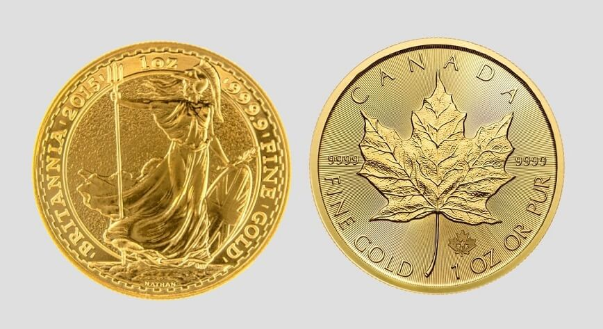 1 унция злато Британия и кленов лист